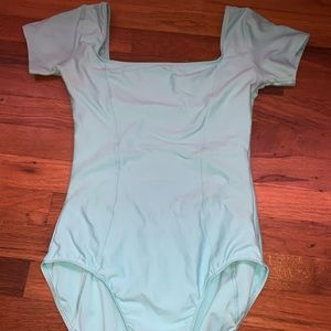 Teal short sleeve square neck ballet leotard